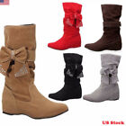 Womens Cute Slouch Casual Flat Heel Mid Calf Round Toe Winter Boots Shoes US
