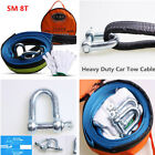 Car Tow Rope Strap Cable Road Recovery Straps w Hooks Emergency Heavy Duty 5M 8T