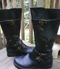 New Natural Reflections Buckle Faux Leather Knee Biker Riding Boot 9 BLACK