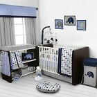 10 Piece Crib Bedding 100 Cotton Set Nursery Baby Blue Gray Elephants
