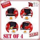 Certified International Top Hat Snowman 6-Inch Canape Plate 4-Piece, NEW!!!