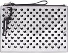 MCQ By Alexander Mcqueen Silver Metallic Perforated Clutch Bag