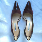 Manolo Blahnik Pump Patent Leather  Suede Pointed Toe EuroSize 385 US Size 85