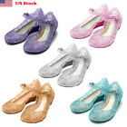 Frozen Princess Cosplay Dress Up Party Sandals Crystal Shoes For Kids Girls