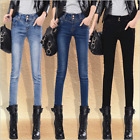 Womens Vintage Pencil Jeans Slim Denim Trousers Long Pants High Waist Pants