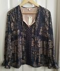 Skies are Blue Stitch Fix Navy Blue and Tan Peasant Blouse Size S NWT