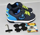 Heelys Boys Dual Up X2 Navy Royal Blue Bright Yellow Skate Sneakers Shoes Size