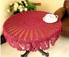 Tablecloth Round Vintage Lace Banquet Christmas Cotton Hand Crochet Genuine Red