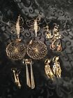 LARGE LOT OF UNIQUE VINTAGE PIERCED EARRINGS ALL GOLD TONE LOT3 108