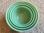 4 VTG FIRE-KING OVEN WARE GREEN JADEITE NESTING MIXING BOWLS IN SWIRL PATTERN