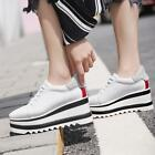 Womens Mixed Color Thicken Heel Muffin Shoes Square Toe Wedge Vogue Sneakers