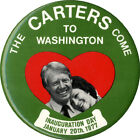 1977 Jimmy Roselynn CARTERS COME TO WASHINGTON Inauguration Button (2179)