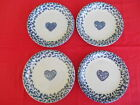 Vintage Set of 4 Tienshan Blue Hearts Spongeware Salad Plates  - 2 Available