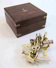 Solid Brass Small Sextant Wooden Box Nautical Navigation Collection NEW