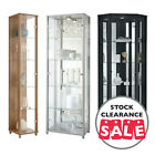 Ex Display HOME Tall Glass Display Cabinet Double Corner Oak Silver Wenge Black