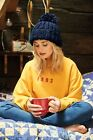 Oversized Hand-Knitted Beanie BC483, Warm Chunky Pom Pom Woolly Winter Hat