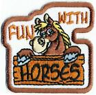 Girl Boy Cub FUN WITH HORSES White Fun Patches Crests Badges SCOUT GUIDE Farm