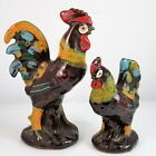 Rustic Rooster Hen Chicken Salt Pepper Shaker Set Hand Painted Redware Pottery