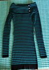 Womans Candies Juniors Teal  Black Long Sleeve Sweater Size Large NWT