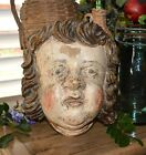 Rare Antique German Carved Wood Figural Child Face Cherub Corbel Shelf Bracket