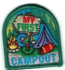 Girl Boy Cub MY FIRST CAMP OUT Camping trip Patches Crests Badges SCOUT GUIDE