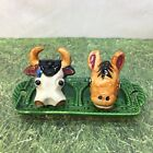 Cow Donkey Heads Hand Painted Salt and Pepper Shakers Mid Century Vintage  Cw