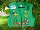 Vintage Girl Scout Green Vest Patches Pins 90s Size Junior 16 USA