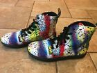 Dr Martens HACKNEY Canvas PSYCH Paint Splatter Stripes 7 Eye Shoes Boots NWT