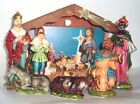 Vintage Large Musical light up Nativity Set Christmas Paper Mache Japan Painted
