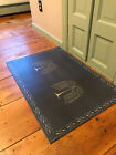 Primitive Willow Tree Floor Cloth Navy Blue with Colonial White Border 2x3