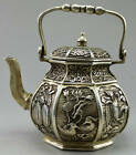 Collectible Decorated Old Handwork Tibet Silver Carve Fish Fruit Flower Tea Pot