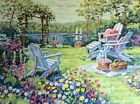 Paint by Number Lake Scene Adirondack Garden Sailboats Picnic 16 x 20 inches