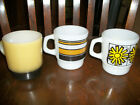 Daisy Stripe Fire King 3 Cups Vintage Stacking Coffee Tea Mug Milkglass D
