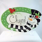 Fitz & Floyd Frosty's Frolic oval Cheers sentiment canape plate cookie tray 2010
