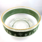 Jeannette Glass green Hellenic Grecian motif fruit or salad bowl gold trim