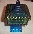 Vintage Blue Green Jeanette Glass Square Candy Dish  6