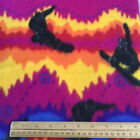 1 yd Snowboarder Fleece Winter Sports Bright Yellow Red Purple Blue NEW