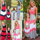Mother and Daughter Boho Stripe Maxi Dress Outfits Mom Kids Casual Matching Set