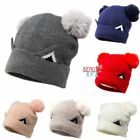 Women Winter Warm Thick Knitted Lined Cat Hat Cap Double Fur Pom Pom Beanie Hat