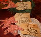 10 Merry Christmas HaNg TaGs StRipE HoMEsPuN pRiMiTivE OrNaMeNtS rustic gift lot