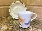 CORELLE by Corning HUMMINGBIRD - CUP AND SAUCER - vintage hibiscus - free ship