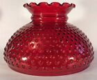 New 10 Ruby Red Stained Hobnail Glass Student Lamp Shade Crimp Top USA SH150R