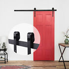 6FT Sliding Barn Door Antique Country Style Steel Closet Hardware Frosted Black