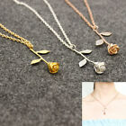Delicate Rose Flower Pendant Necklace Beauty Rose Gold Silver Charm Jewelry