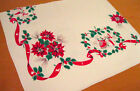 Vintage 1950s Cotton Christmas Novelty Tablecloth w Poinsettia  Carolers