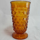 Vintage Indiana Glass Goblet Cubist Whitehall Amber Pressed Colony Ice Tea 6in