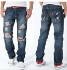 2017 Mens Torn Jeans Vintage Distressed Ripped Holey Patches Slim Cut NZ04