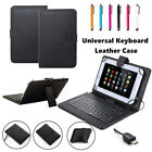 "Keyboard Folios w/ Micro USB PU Leather Case For 7"" 8"" 9.7"" 10.1"" inch Tablet PC"