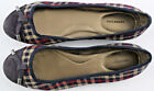 LANDS END Blue Red Tan Plaid Slip On Ballet Flats Cap Toe Shoes Sz 6 Womens 185