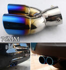 Silver Blue 76mm Vehicle Chrome Muffler Exhaust Pipe Fits For All Cars 390A Bend